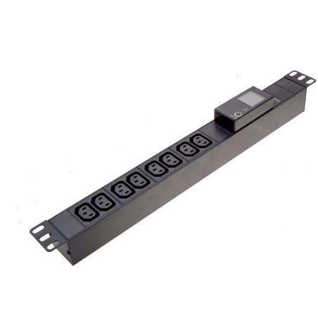 "Strømskinne 19"" rackkabinet, 8 x C-13 (IEC) hun, med strøm-, spænding- og effektmåler"
