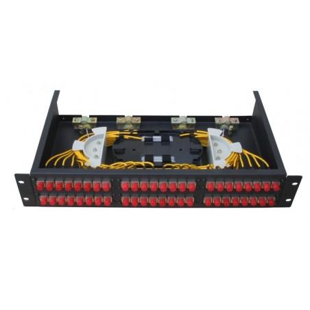 24 ports Patch panel til LC stik. Eksklusiv LC stik og pigtail kabler.