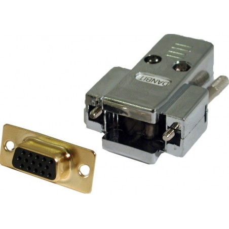 Løst DB15HD hunstik med kappe, (VGA stik til lodning)
