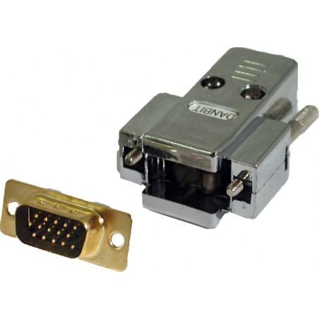 Løst DB15HD hanstik med kappe til lodning (løst VGA stik)