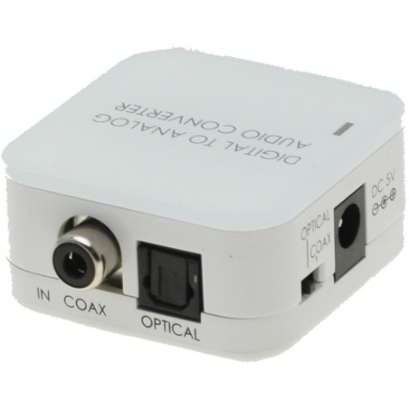 Digital til analog audio konverter. Optisk Toslink og bitstream Coax input til analog output