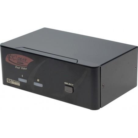 2 ports KVM omskifter, 2 x DVI, USB, lyd (Dual Head)