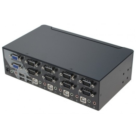 4 ports KVM omskifter, dual head (VGA) , VGA, USB og lyd