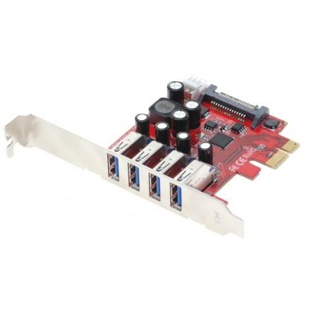 PCIE kort med 4 USB 3.0 porte for tilslutning af 4 eksterne USB 3.0 enheder