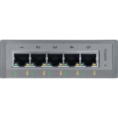 5 port switch 10/100Mbit RJ45 DIN-skinne - Unmanaged, 10-30VDC