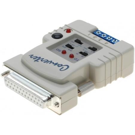 RS232 - current loop. Med strømsløjfen kan der opnås serielforbindelser på op til 1,2 km