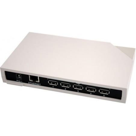 5 x USB porte over Ethernet. USB netværksserver. Proff. version. Virker med USB-dongles