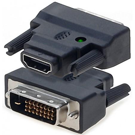 HDMI til DVI omformerstik. HDMI han kabel (dual link) omdannes til DVI-D han stik