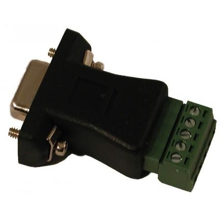 Terminalblok med DB9 HUN stik. Adapter med 5 skrueterminaler