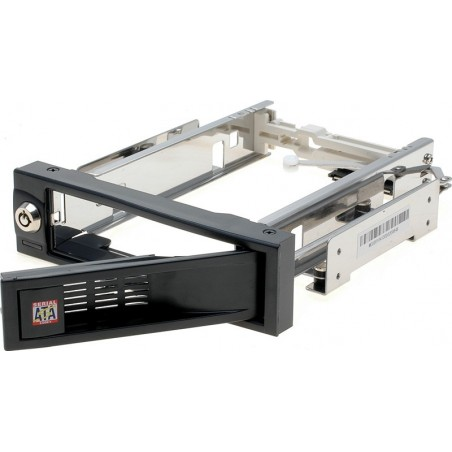 """SATA+SAS Harddiskkassete udtagelig 3½"""" SATA HDD ramme blæserløs sort"""" alternativ til udtagelig 3 ½"""" skuffe"""