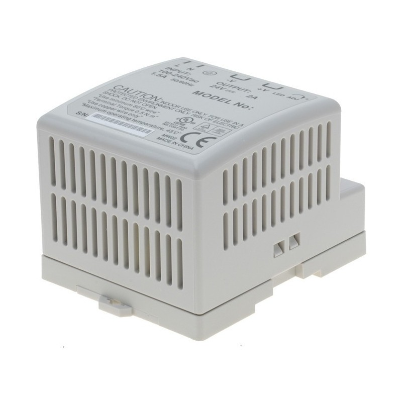24V/2A strømforsyning, 85 - 264VAC, DIN-skinne
