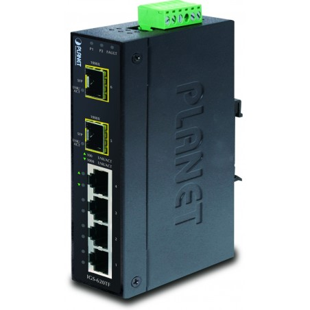 6 ports 10/100/1000Mbit switch 4 x RJ45 + 2 x SFP, DIN, Unmanaged, 12-48VDC