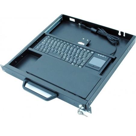 """19"""" 1U udtræksskuffe til tastatur med touchpad"""
