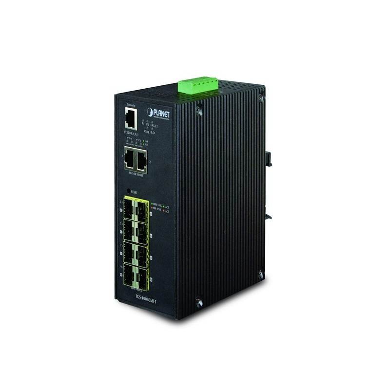 10 ports Gigabit switch 8 x SFP 100/1000Mbit, 2 x 10/100/1000Mbit, DIN - Managed, 12-48VDC og 24VAC