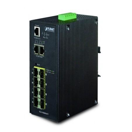 10 ports Gigabit switch 8 x SFP 100/1000Mbit, 2 x 10/100/1000Mbit RJ45, DIN - Managed, 12-48VDC og 24VAC