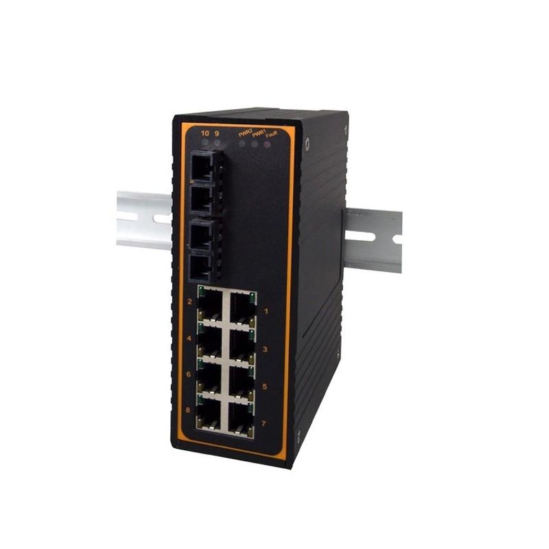10 ports switch 8 X 10/100 RJ45 + 2 x SC Gigabit Single Mode, Unmanaged, 12-48VDC