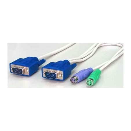 Blæksprutte KVM kabel m. PS2 og DB15 stik
