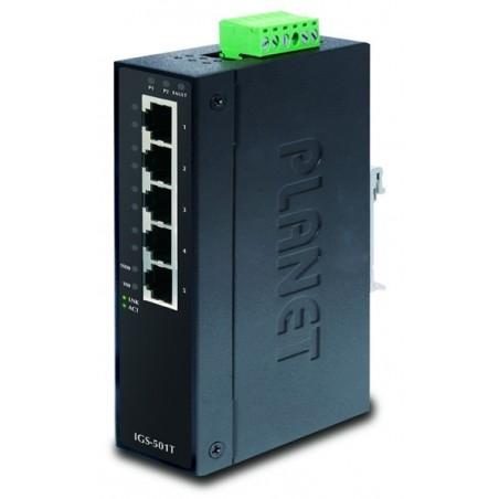 5 ports Gigsbit RJ45 switch -40-75° DIN - Unmanaged, 12-48VDC