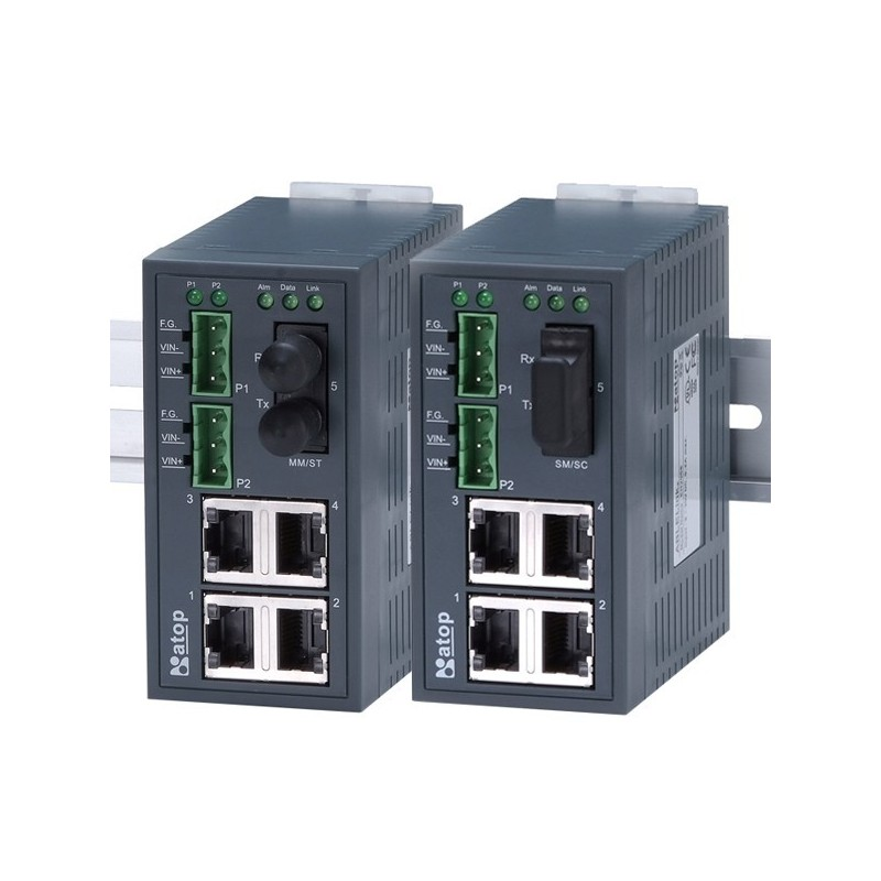 5 ports switch 4 x 10/100 RJ45 + 1 x ST, Multi Mode, DIN - Unmanaged, 9-30VDC