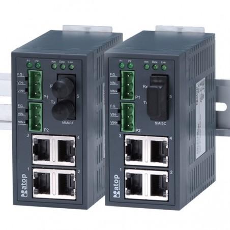 5 ports switch 4 x 10/100 RJ45 + 1 x fiber port til ST, Multi Mode, DIN - Unmanaged, 9-30VDC