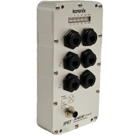 6 ports switch 10/100 RJ45 IP67 vandtæt Box - Unmanaged, 12-48VDC
