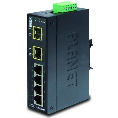 6 ports 4 x 10/100Mbit RJ45, 2 x 100Mbit SFP fiberport - unmanaged, 12-48VDC