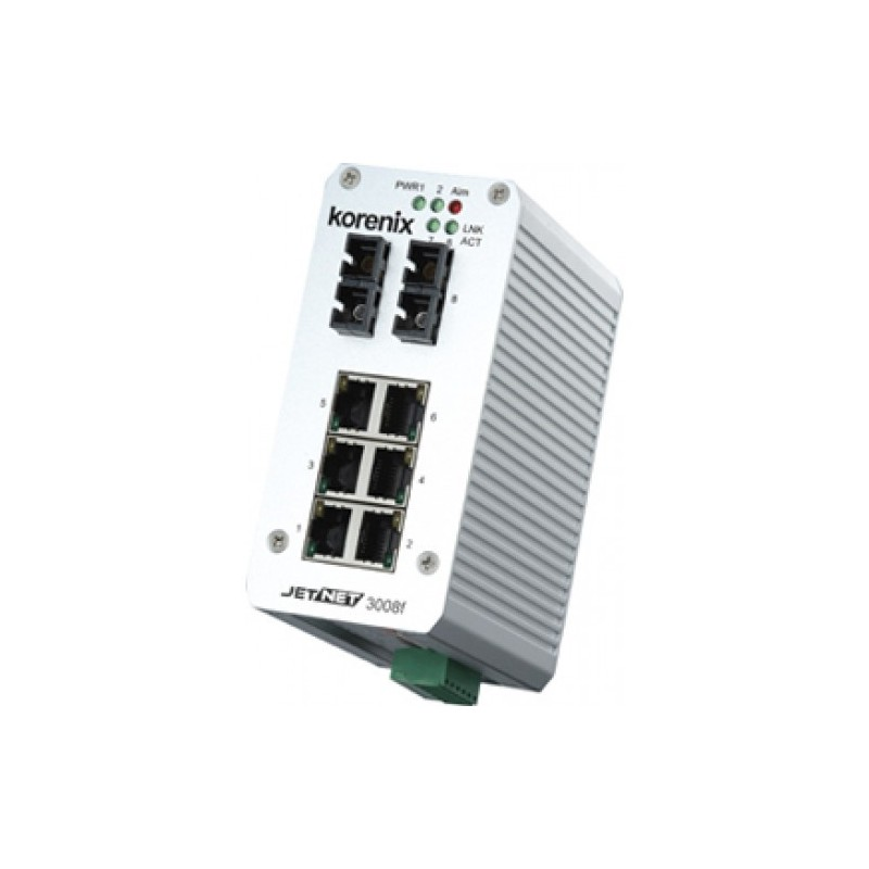 8 ports switch 6 x 10/100 RJ45 + 2 x SC 100Mbit Multi Mode - Unmanaged, 10-48VDC