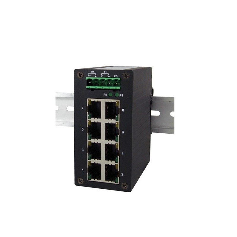 8 ports switch 10/100 RJ45 DIN IP50 - Unmanaged, 9-48VDC