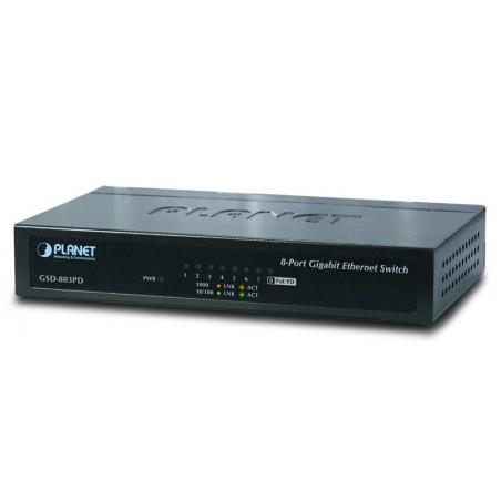 8 ports switch 10/100/1000Mbit RJ45, Unmanaged, forsynes fra PoE eller 5VDC