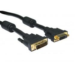 DVI kabel, DVI-I han til DVI-I hun, Dual Link, Overfører både 2 digitale signaler og 1 analogt signal: (2/1), sort, 2,0m