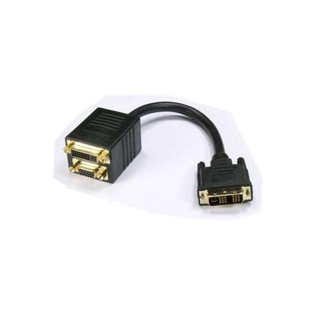 DVI kabel. Dual Link, 2-1 DVI-I han - DVI-I hun og DB15HDF, 1,0 meter