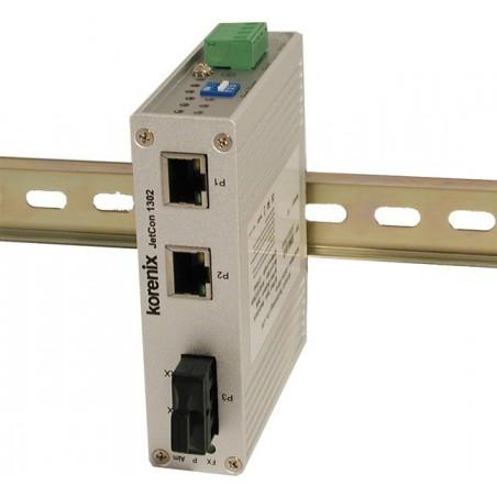 Mediekonverter RJ45 til 100Mbit Multi Mode Fiber, SC, 3 x RJ45 porte