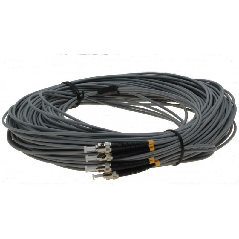 Fiberoptisk kabel med fleksibel armering af rustfrit stål - multimode ST, 25 meter