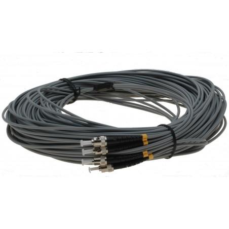 Fiber optisk kabel med fleksibel armering af rustfrit stål - multimode ST, 25 meter