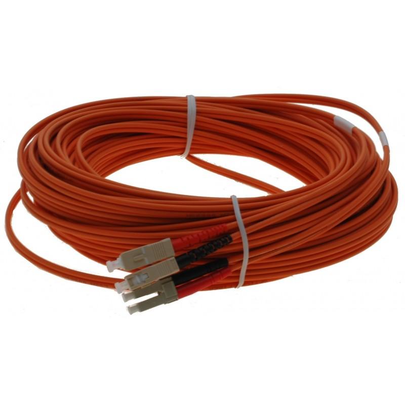 Fiber optisk kabel med fleksibel armering af rustfrit stål - multimode SC-LC, 25 meter