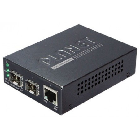 Mediekonverter med 2 x SFP slot og 1 x RJ45, er en 3 ports switch