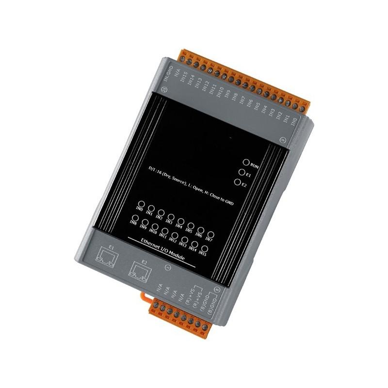 Web-baseret I/O modul med 16 digitale input og 2 port Ethernet switch