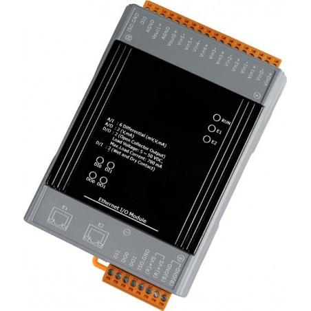 IO med 6 indgange og 6 relæer. Med 2 ports Ethernet switch