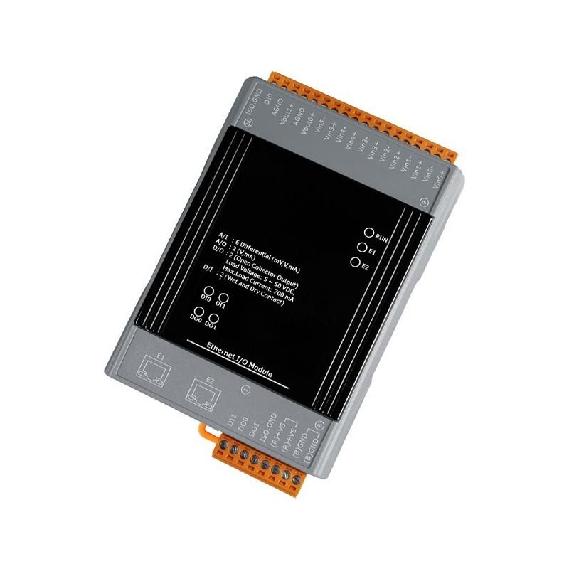 Ethernet styret 8 isolerede ind- og udgange med 2 ports Ethernet switch