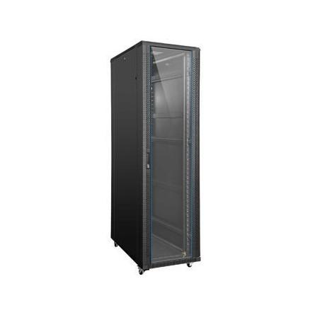 "32U 19"" rackskab, 80cm dyb, sort. Med glas-låge"