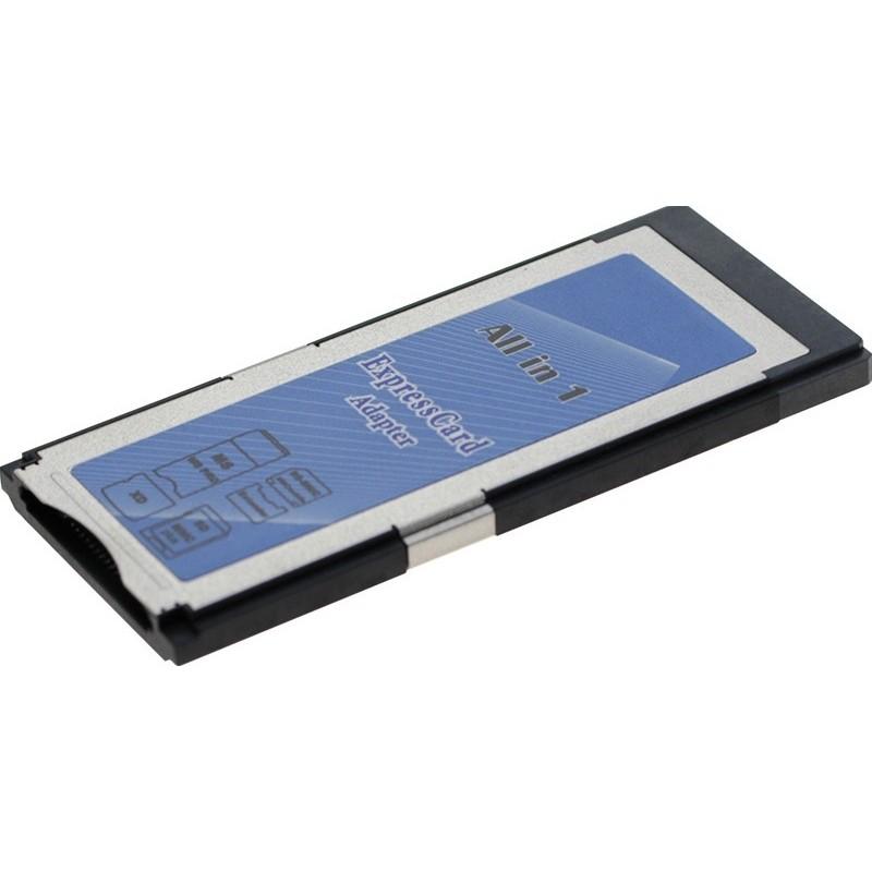 ExpressCard til Flashkort adapter. Læser og skriver 8 forskellige typer flashkort