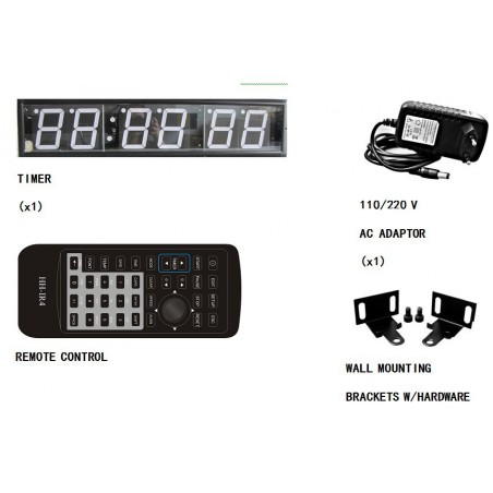 "4"" LED timer display med digitalt ur (6 cifre), til bla. sport"