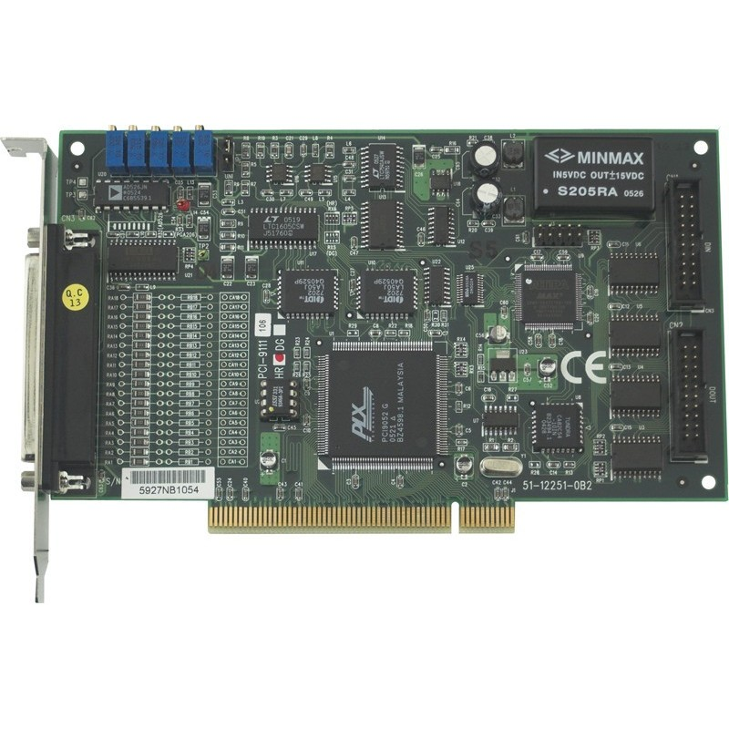 16 kanals A/D dataopsamling, 12 bit, 16 D/I og DO, PCI