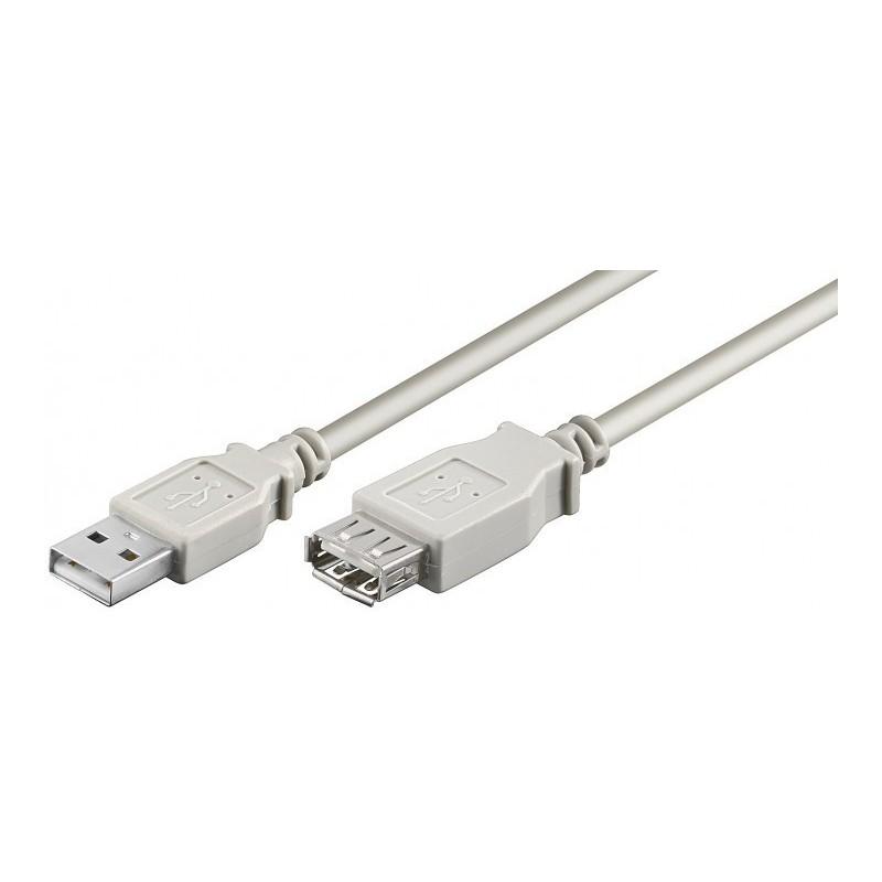 USB 2.0 kabel, A han – A hun, AWG28, grå, 1,8m
