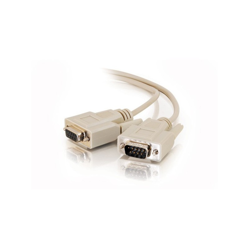 SUB-D RS232 seriel kabel, DB9 han - DB9 hun, AWG28, grå, 1,8m