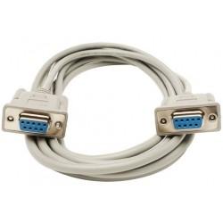SUB D RS232 tilpasningskabel, DB9 hun - DB9 hun, AWG28, grå, 1,8m
