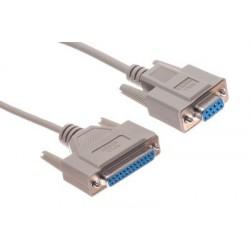 RS232 seriell adapterkabel DB9 hona till DB25 hona