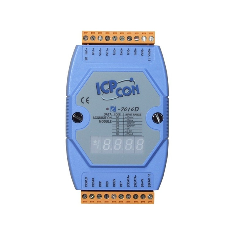 1 x analog ind for Strain Gauge, 1 x analog ud, 4 x digital ud, RS485 bus, Display. ICP DAS I-7016D