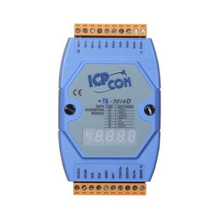 1 x analog ind for Strain Gauge, 1 x analog ud, 4 x digital ud, RS485 bus, Display