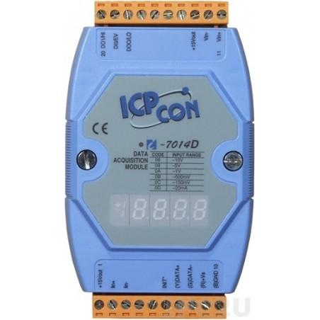 1 x analog ind, +/-10V, 0-20mA, 16bit, 1 x digital ind, 2 x digital ud OC, display, RS485 bus. ICP DAS I-7014D